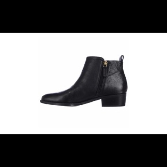 Franco Sarto Black Leather Double Zip Ankle Boots